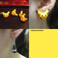Pikachu and Wobbuffet Earrings by ChibiSilverWings