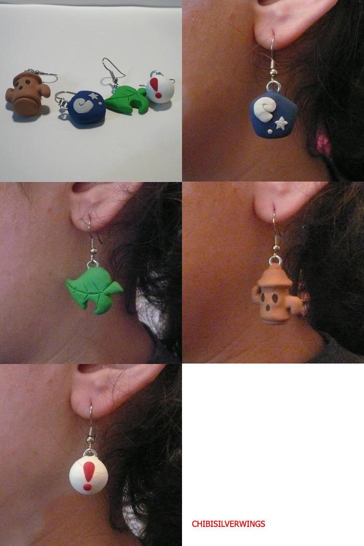 More Animal Crossing Earrings by ChibiSilverWings