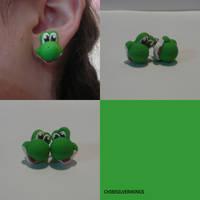 Yoshi Earrings by ChibiSilverWings