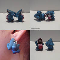 Gible Earrings by ChibiSilverWings