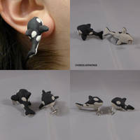 Orca Killer Whale Earrings by ChibiSilverWings