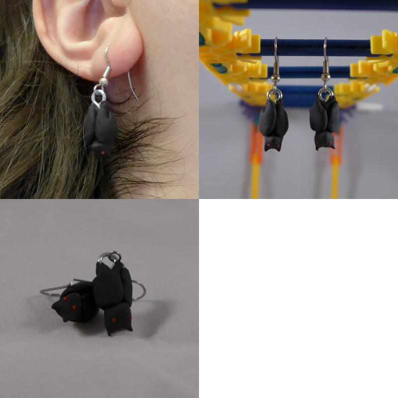 Bat Hanging Earrings by ChibiSilverWings