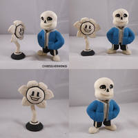 Undertale Flowey And Sans by ChibiSilverWings