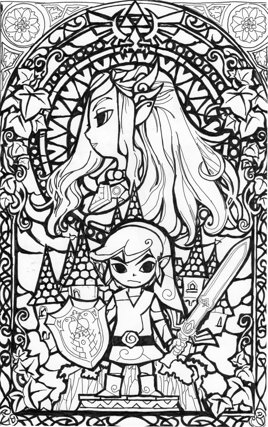Zelda blackwhite glass window by aiduqui on deviantart for The legend of zelda coloring pages