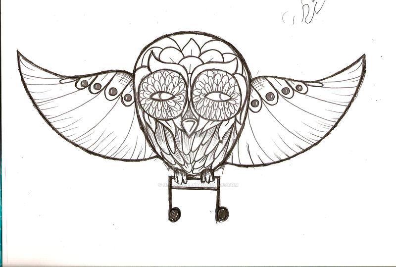 Music Tattoo Sketch Music Owl Tattoo Sketch by