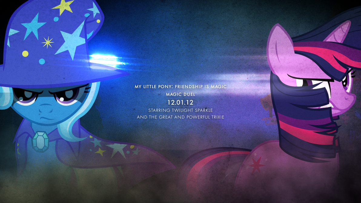 Twilight Sparkle + Trixie - Magic Duel (Wallpaper) by AdrianImpalaMata