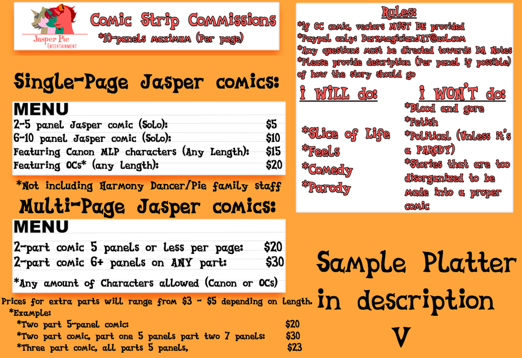 Jasper Pie Comic Commission Guide 2018 by JasperPie