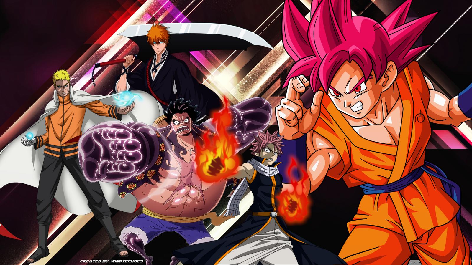 Goku,Ichigo,Naruto,Luffy,Natsu Anime Wallpaper by ...