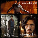 courage, magic and strength