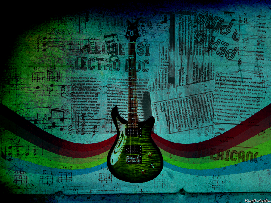 Green Electric Guitar Electric Guitar Wallpaper by