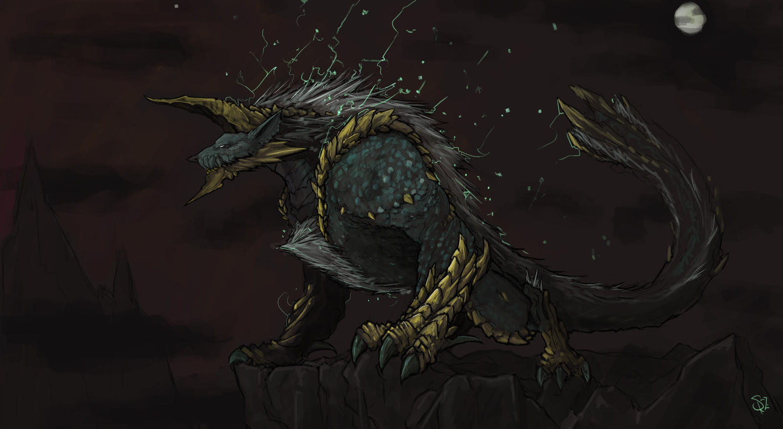 Zinogre, the Thunder Wolf Wyvern by Halycon450