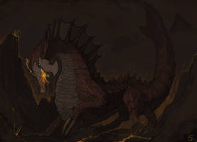 Agnaktor, the Fire-Pike Wyvern by Halycon450