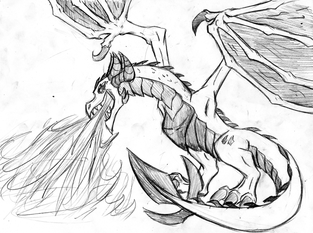 Drawings Of Dragons Blowing Fire Its a dragon.... -sketch by Drawings Of Dragons Blowing Fire For Kids