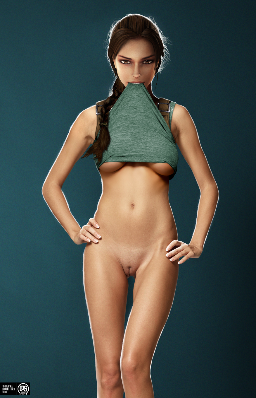 lara croft nude photoshoot 01 by madspike d218t2w Silver Metallic Bikini Top
