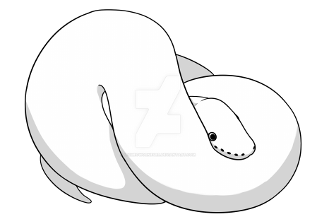Balled Ball Python Lineart by itsMeowOrNever