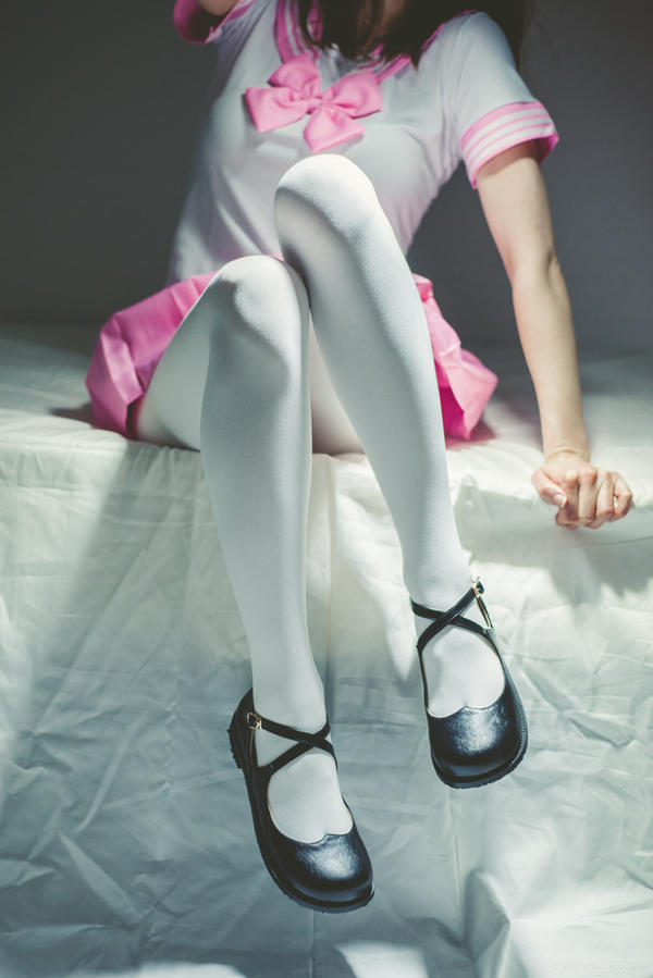 White tights, mary janes, and pink skirt #5