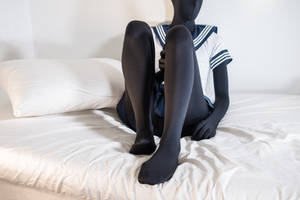 Zentai on the bed, in school uniform #1 by PascalsProxy
