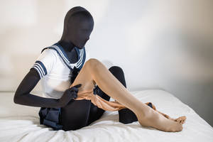 Zentai on the bed, in school uniform #7 by PascalsProxy