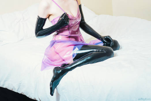 Latex dress on the bed #6