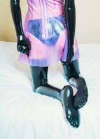 Latex dress on the bed #8