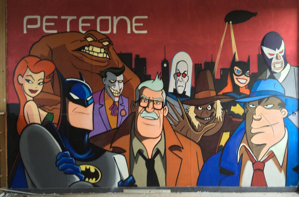 Mural painting of childhood cartoons the batman by for Cartoon mural painting