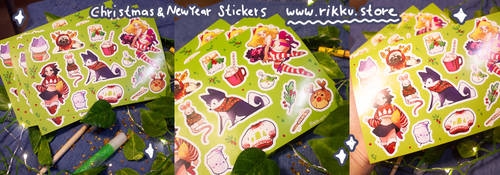 new christmas and New Year Stickers! by Rikku-nyan