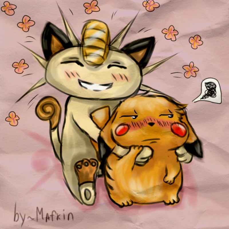 Meowth and Pikachu by Mafkin