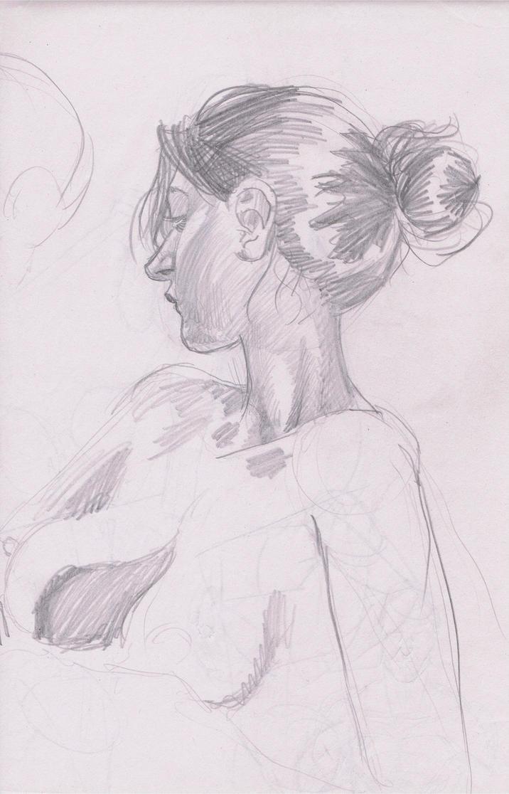 Pencil Life Drawing by JoeRuff
