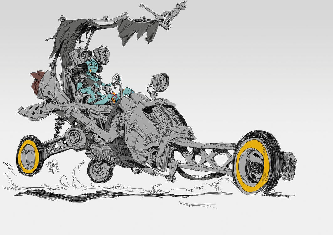 three wheeler half-colored by Vamp1r0