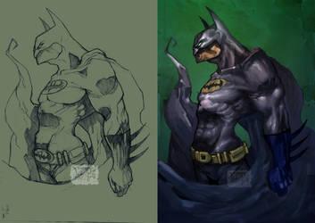 Batman lines n color by Vamp1r0