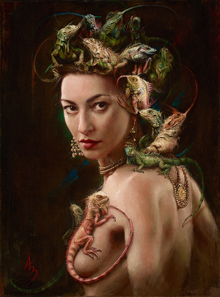 Amphibian Goddess, 24x18 in, oil on Belgian linen by alexandramanukyan