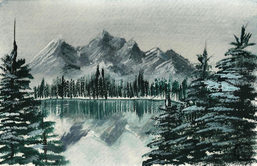 how to draw mountains with snow