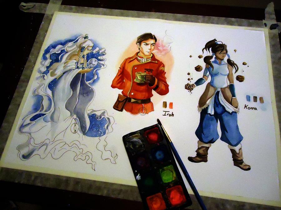 Watercolor Side Practice - Yue Iroh and Korra by JD-SPEEDbit
