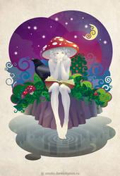 Mushroom under the Moon by kir-tat