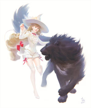 White witch and her cat