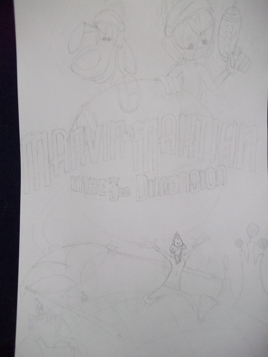 Marvin The Martian In The 3rd Dimension: Rough by PaperFox74