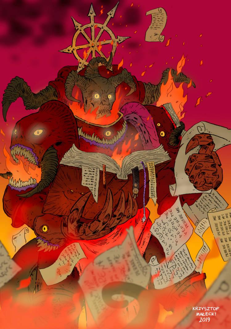 WH40K:Lorgar Daemon Prince of Chaos Undivided by KrzysztofMalecki