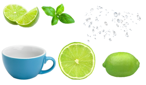 green lemon cup and water drop PNG