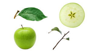 Green apple and apple slice PNG