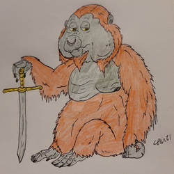 Unamused orangutan with a sword