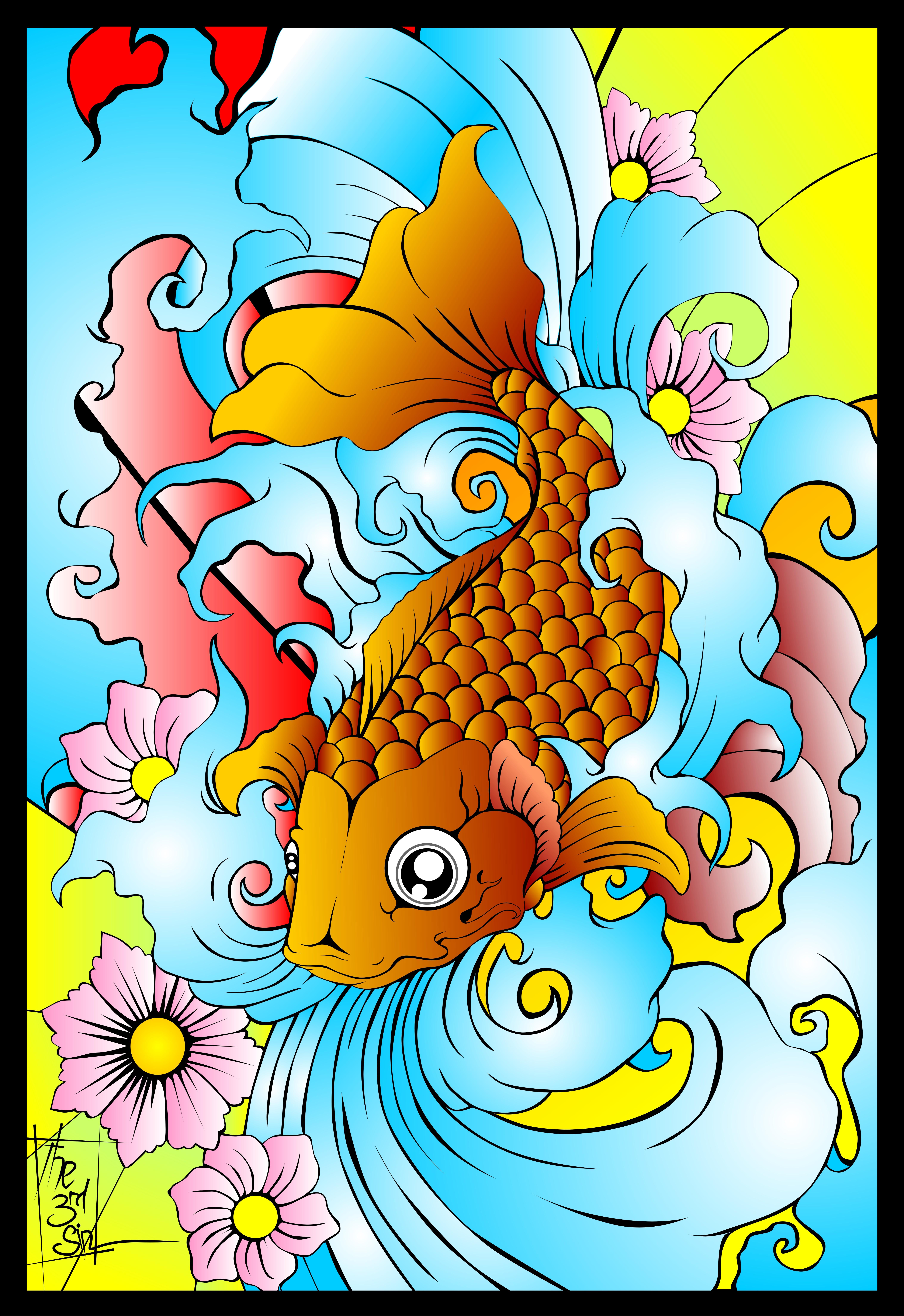 Japanese koi fish part i by bytha on deviantart for Asian koi fish art