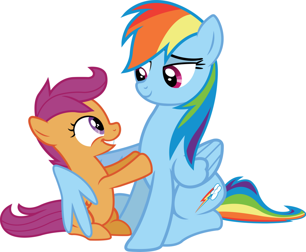 Scootaloo and Rainbow by birthofthepheonix