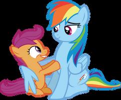 Scootaloo and Rainbow by birthofthepheonix