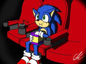 Movie Sonic watching the Sonic movie.