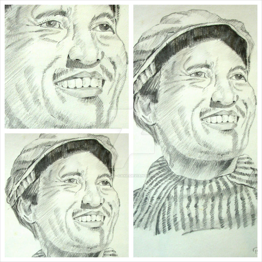 Pencil sketch tenzing norgay collage by fruit cake