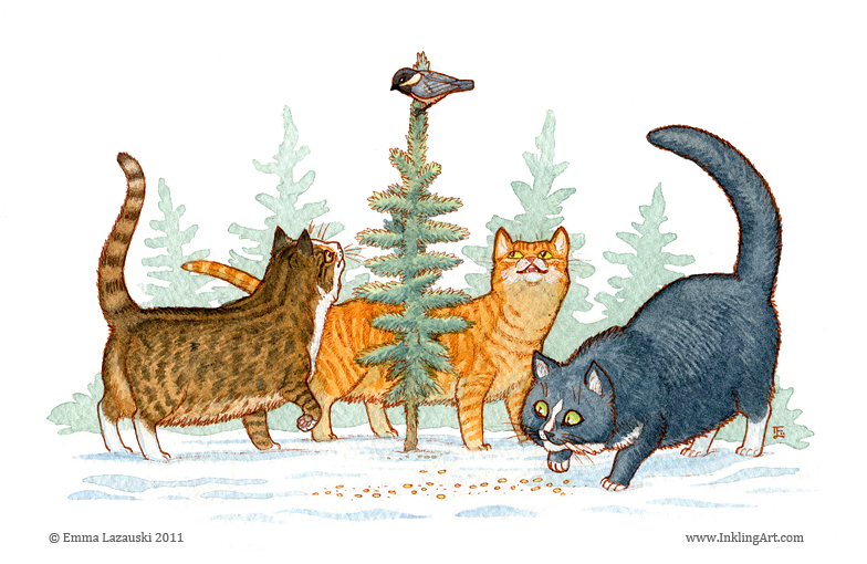seasons greetings cats by emla
