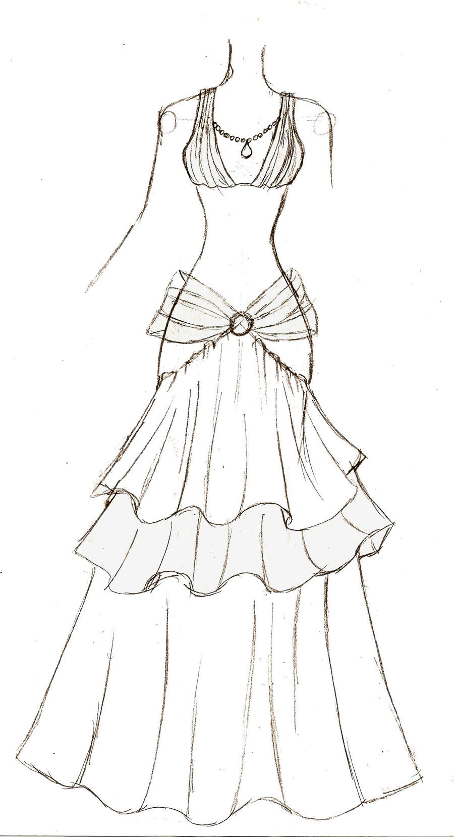 Wedding Dress Line Drawing : Evening dress by upon a remstar on deviantart