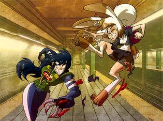 Rabbit vs Leech by TheBrokenMonkey