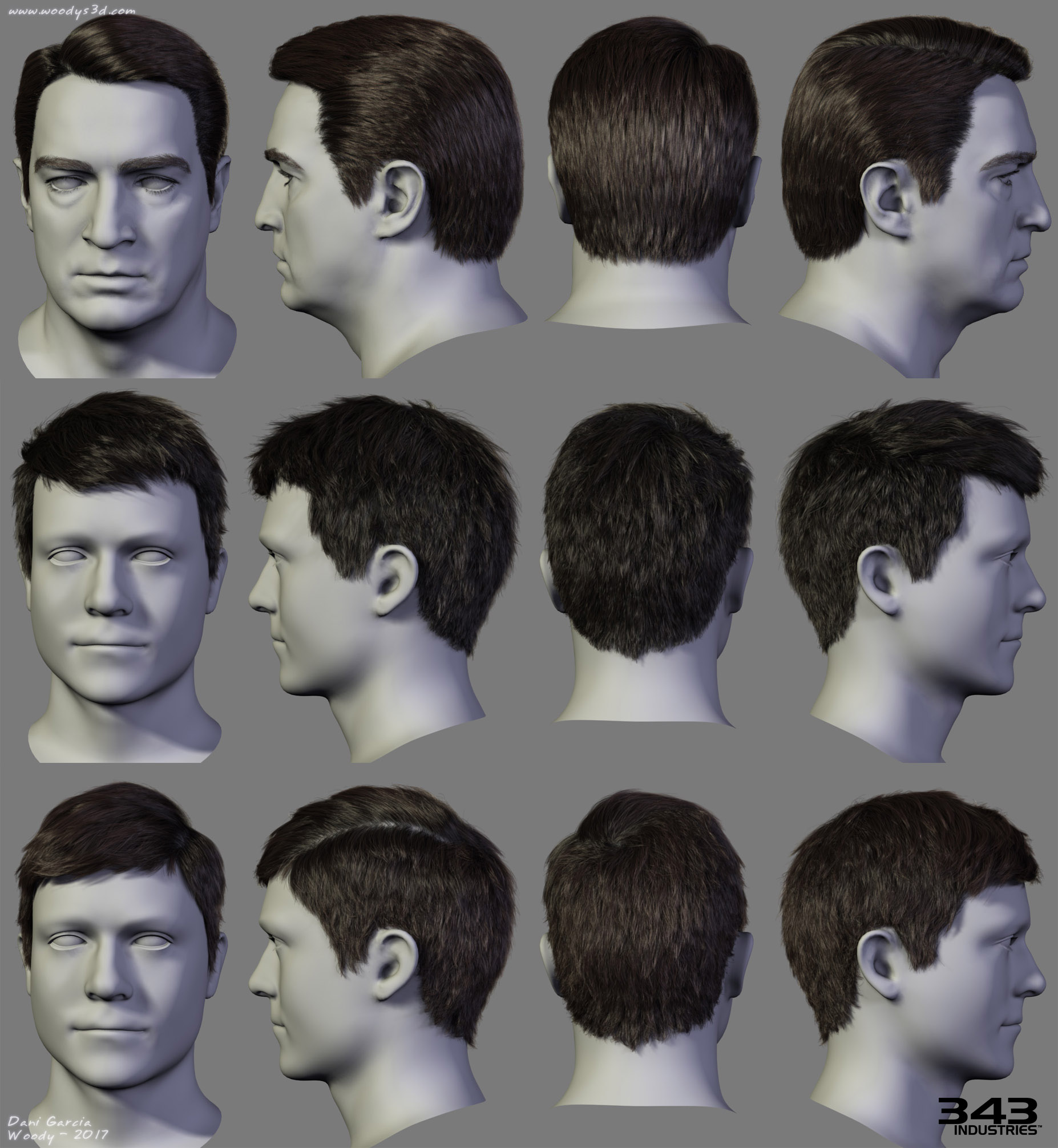 Halo Hairstyles 01 by Woodys3d