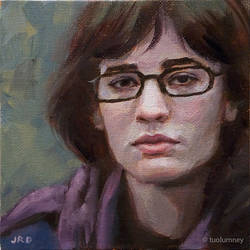 Purple Scarf - 6x6 inches oil on canvas panel